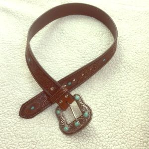 Turquoise floral tooled leather rodeo boho belt